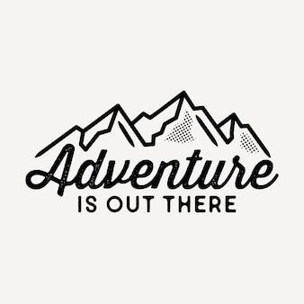 Etichetta di avventura, monoline, line art, badge design.