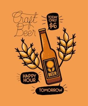 Etichetta di birre happy hour con bottiglia e foglie