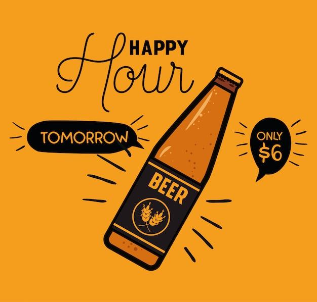 Etichetta di birre happy hour con bottiglia