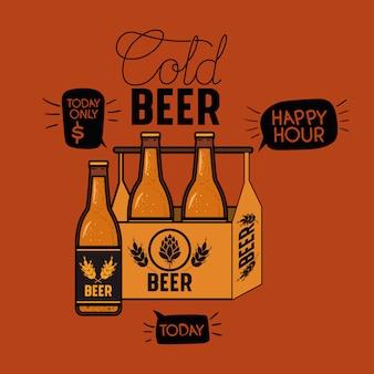 Etichetta di birre happy hour con bottiglie nel carrello