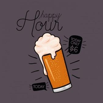 Etichetta di birre happy hour con vetro