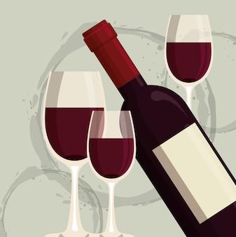 Etichetta di bottiglia e bicchiere di vino rosso