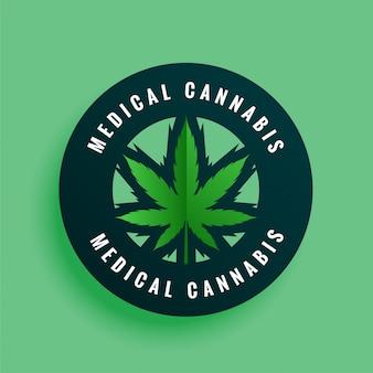 Etichetta di cannabis medica o sfondo design adesivo