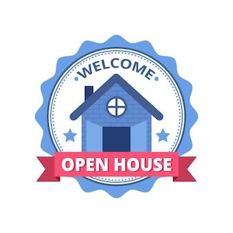 Etichetta di casa aperta con banner