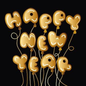 Etichetta di celebrazione di felice anno nuovo con palloncini elio