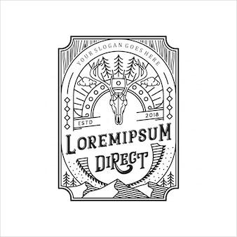 Etichetta di cervo foresta linea arte logo design