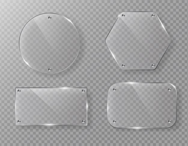 Etichetta di cornice di vetro vettoriale vuoto su trasparente.