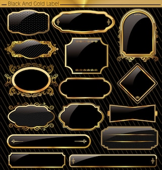 Etichetta di cornice oro nero vettoriale vintage