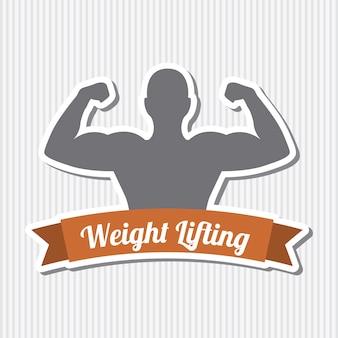 Etichetta di fitness sopra illustrazione vettoriale sfondo grigio