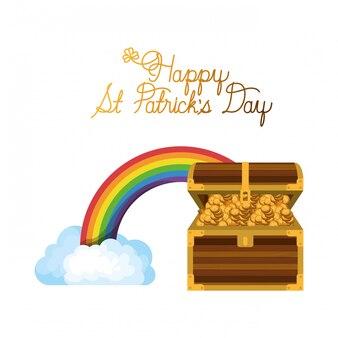 Etichetta di giorno felice st patrick con icone arcobaleno