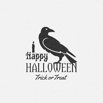 Etichetta di halloween felice, emblema o modello di carta.