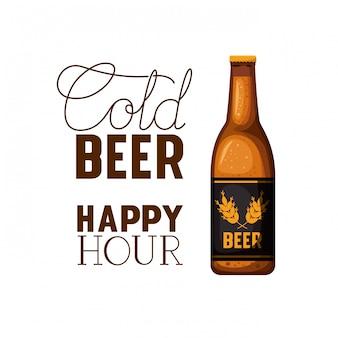 Etichetta di happy hour birra fredda con icona della bottiglia