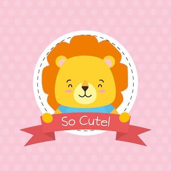 Etichetta di lione, simpatico animale, cartone animato e stile piatto, illustrazione