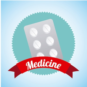 Etichetta di medicina sopra illustrazione vettoriale sfondo blu