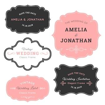 Etichetta di nozze dell'annata