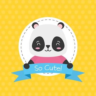 Etichetta di panda bear, simpatico animale, fumetto e stile piano, illustrazione