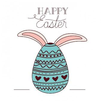 Etichetta di pasqua felice con l'icona di orecchie di coniglio e uovo
