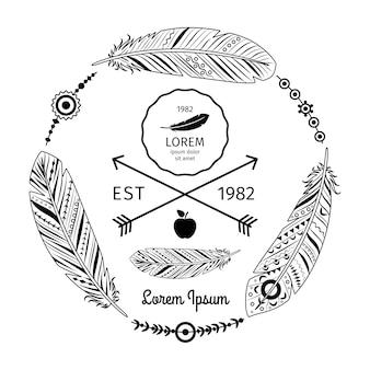 Etichetta di piume etniche