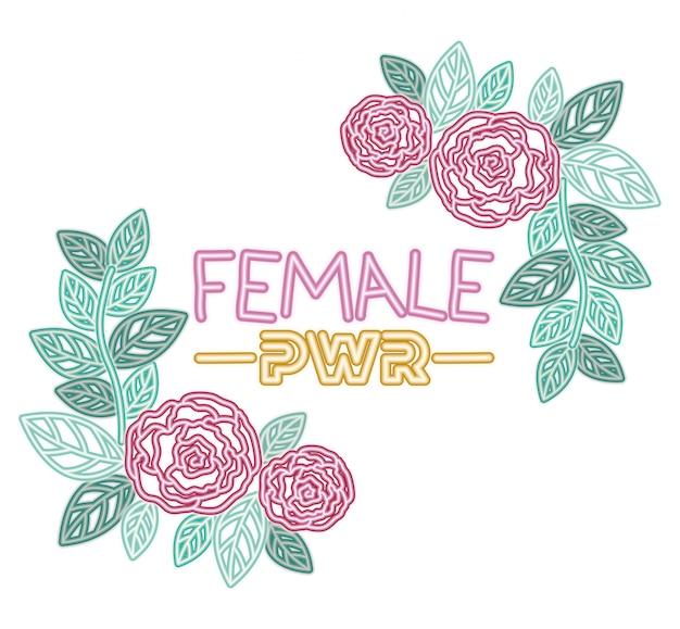 Etichetta di potenza femminile con icone di rose