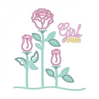 Etichetta di potenza ragazza con icona isolato rosa