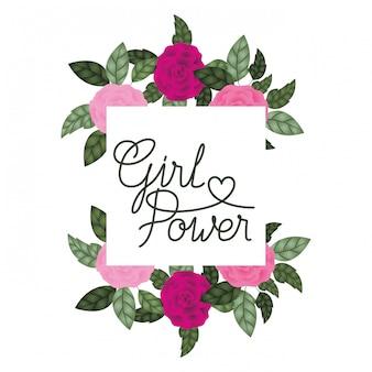 Etichetta di potenza ragazza con icone cornice rose