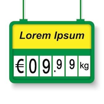 Etichetta di prezzo realistico supermercato 3d.
