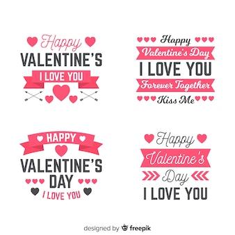 Etichetta di san valentino e collezione di citazioni
