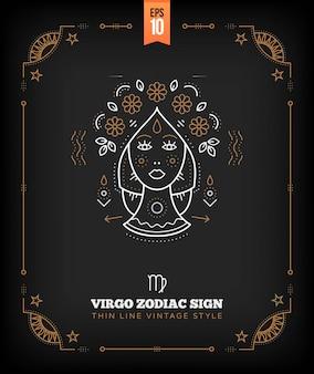 Etichetta di segno zodiacale vergine vintage linea sottile. simbolo astrologico retrò, elemento mistico, geometria sacra, emblema, logo. illustrazione di contorno del colpo.