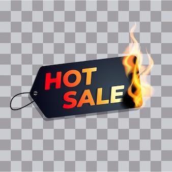 Etichetta di vendita calda bruciare nel fuoco