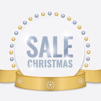 Etichetta di vendita di natale per la promozione con nastro d'oro e decorazioni natalizie.