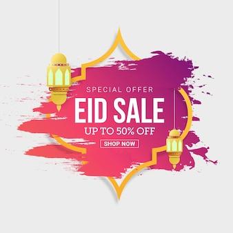 Etichetta di vendita eid mubarak con sconto del 50%
