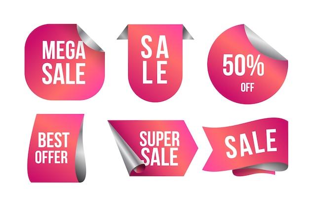 Etichetta di vendita realistica nella collezione di tonalità rosa sfumato