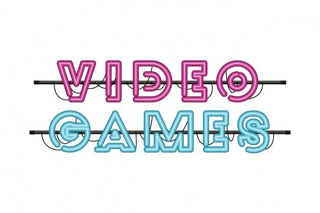 Etichetta di videogiochi in icona luce al neon