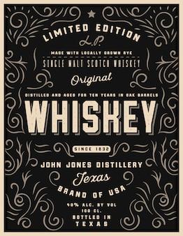 Etichetta di whisky disegnata a mano con elementi di ornamento, etichetta di whisky di alcol incisione occidentale