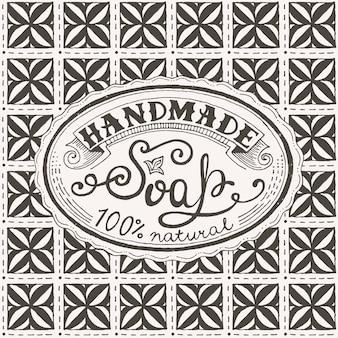 Etichetta disegnata a mano e modello per saponetta fatta a mano