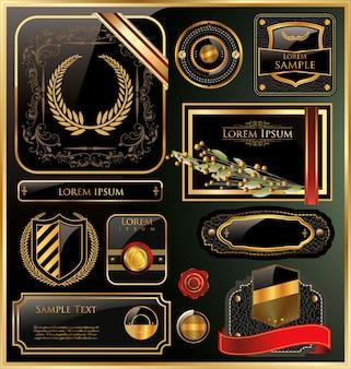 Etichetta elegante cornice oro nero vettoriale