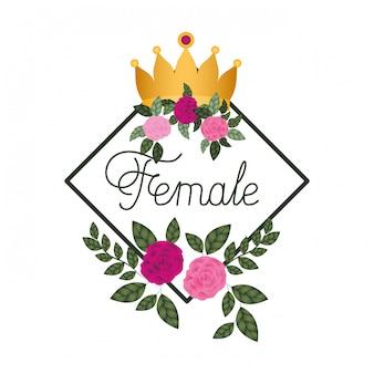 Etichetta femminile con icone cornice rose