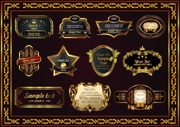 Etichetta floreale di confine cornice set elemento vintage