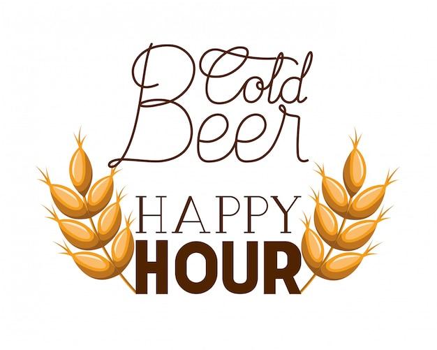 Etichetta happy hour birra fredda con grano
