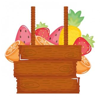 Etichetta in legno appesa a frutti tropicali