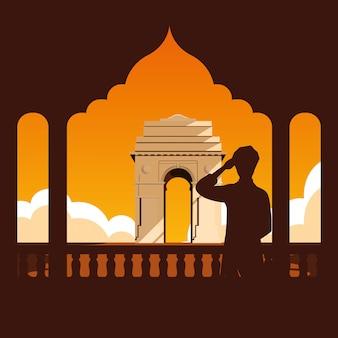 Etichetta indiana festa dell'indipendenza con uomo e strutture