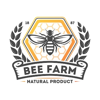 Etichetta isolata annata dell'azienda agricola dell'ape