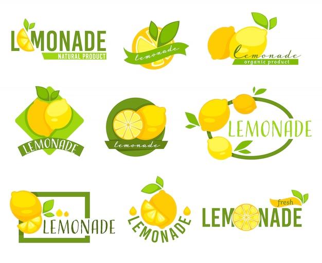 Etichetta limonata con agrumi, set di emblemi di limoni
