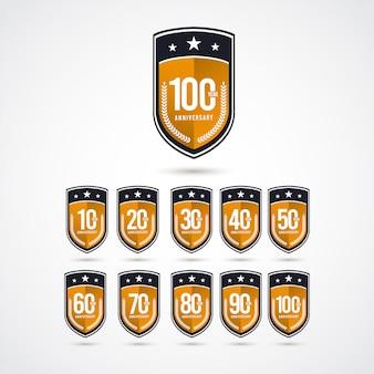 Etichetta logo template design illustration di celebrazione di anniversario di 100 anni
