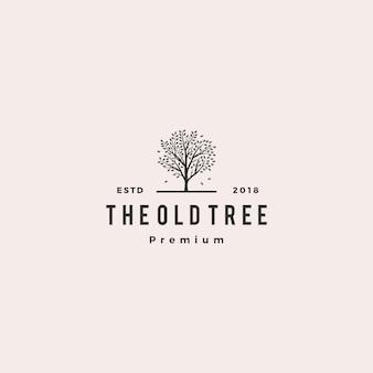 Etichetta logo vintage di albero logo retrò hipster