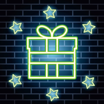Etichetta luci al neon con confezione regalo