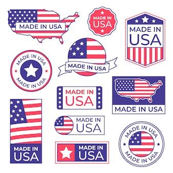 Etichetta made in usa. bollo fiero della bandiera americana, fatto per l'icona delle etichette degli sua e fabbricazione nell'insieme isolato stocker dell'america