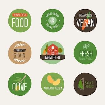 Etichetta naturale e agricoltura organica fresca della bandiera.