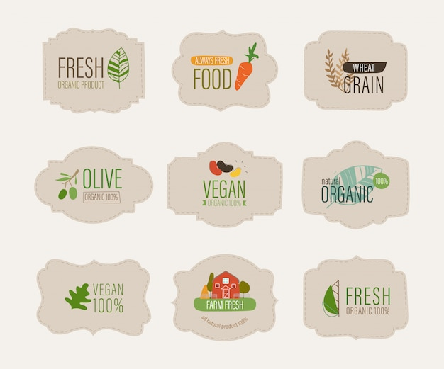 Etichetta naturale e banner organico fresco.