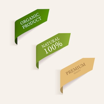 Etichetta naturale e banner verde biologico.